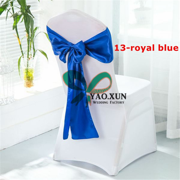 50PCS White Spandex Chair Cover With 50pcs Royal Blue Satin Chair Sash