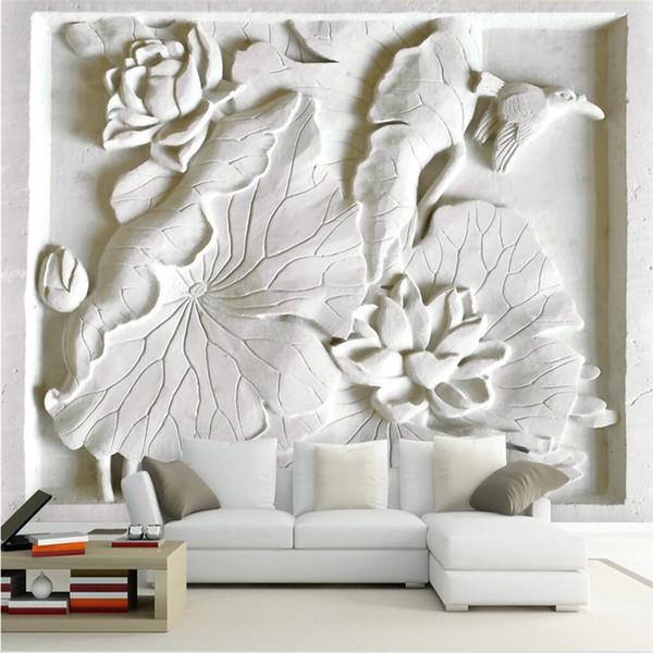 Acheter Gros 3d Papier Peint Mural Art Décor Photo Toile De Fond Moderne Salon Avec Blanc En Relief Lotus Hotel Restaurant Peinture Murale Panneau De