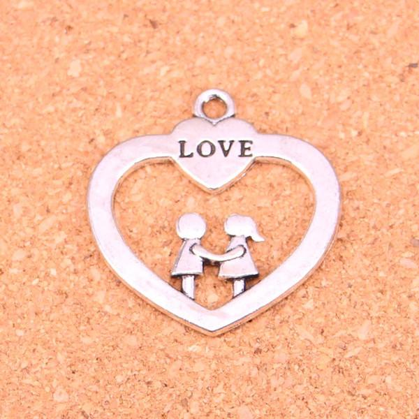20 pcs Encantos coração amante do querido, Antique Fazendo pingente em forma, Vintage prata Tibetano, jóias DIY colar de pulseira 35 * 34mm
