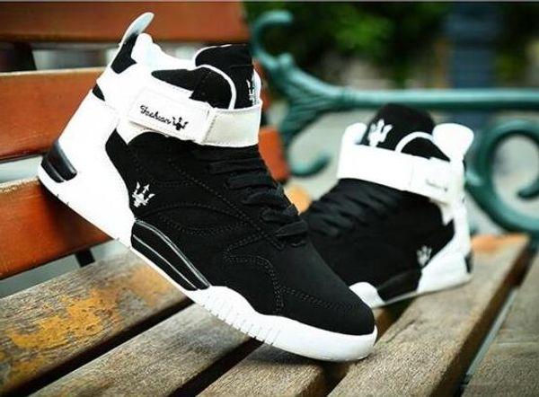 ROEGRE Neue Design Frühjahr 2017 High Top Männer Schuhe mit Schnalle Atmungsaktive Männer Casual Trainer Schuhe Stiefeletten Schwarz Weiß, size39-45
