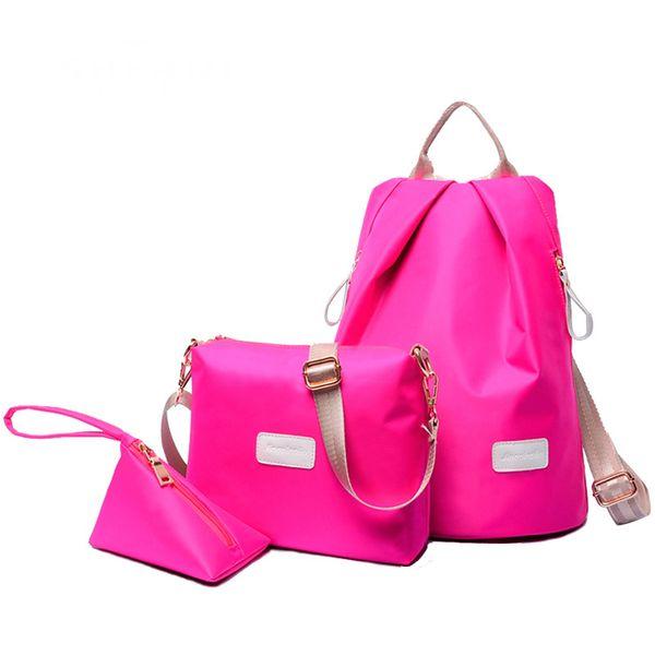Wholesale-New arrival Korean girls waterproof nylon shoulder bag casual Oxford women 3 set shoulder bag clutch bags handbags messenge bag