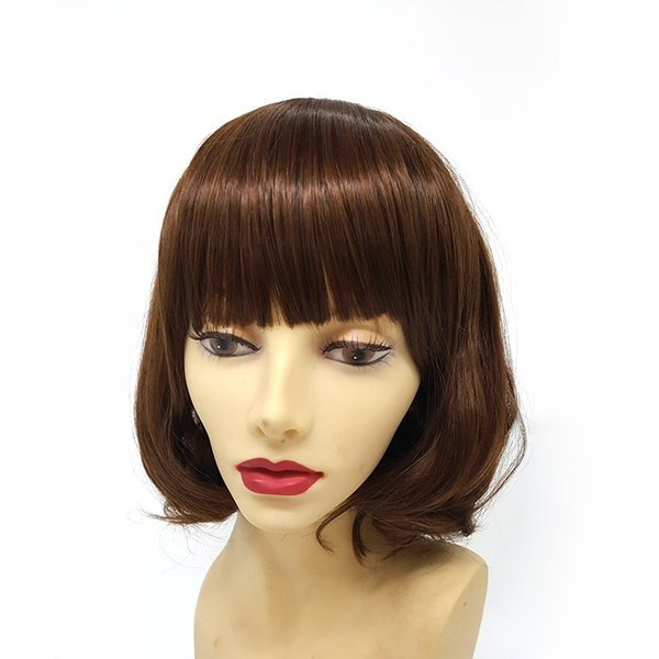Großhandel Frauen Ombre Synthetische Kombination Hitzebeständige Braune Schulter Kurze Haare Kurze Perücke Lockiges Haar Perücken Bang Capless