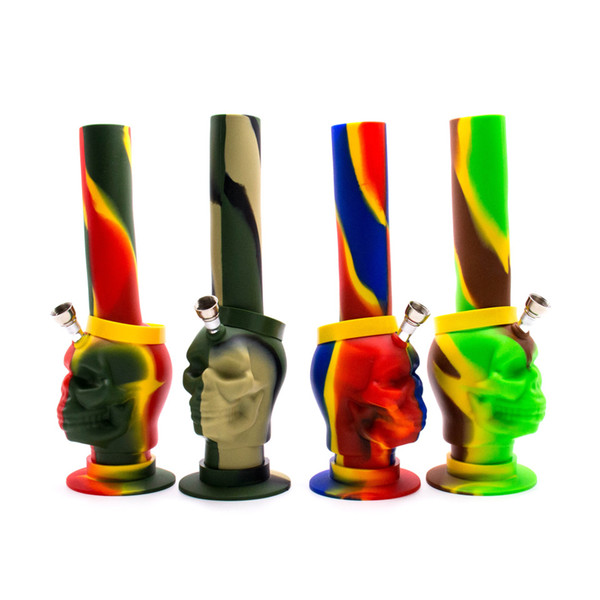 Skull silicone bongs glass bong with Honey bucket silicone Dab Rigs oil rig water pipes colorful smoking bubbler pipes free shipping