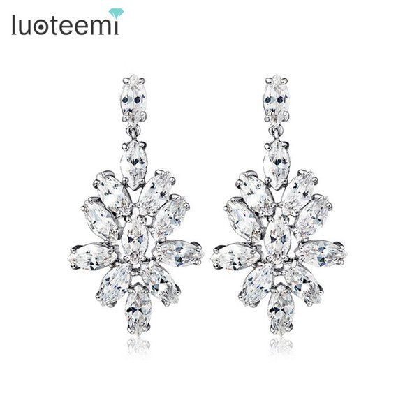 LUOTEEMI Luxury Flower Wedding Earrings Marquise-cut CZ Crystal Bridal Big Dangle Earrings White Gold-Color Factory Wholesale