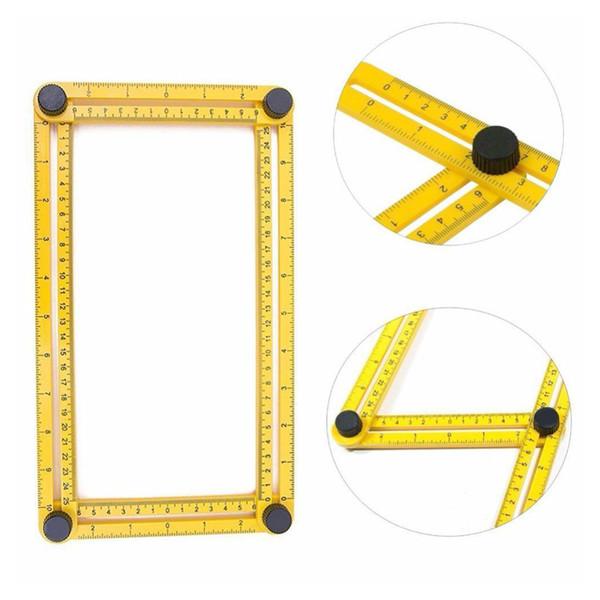Pratique quatre outils mesure règle métrique d/'angle en plastique Multifonction