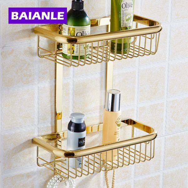 Ein / Zwei Schicht Badezimmer Rack Platz Gold Messing Handtuch Waschen  Duschkorb Bar Regal / Bad
