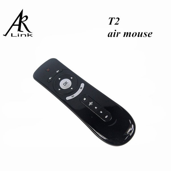 Wholesale-Gyroscope Mini Fly Air Mouse T2 2.4G Wireless Keyboard 3D Sense Motion Stick For PC Android TV Box Media Player iptv laptop