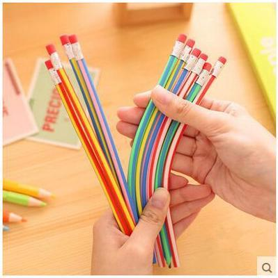 5PCS Korea Cute Stationery Colorful Magic Bendy Flexible Soft Pencil with Eraser Student School Office Use