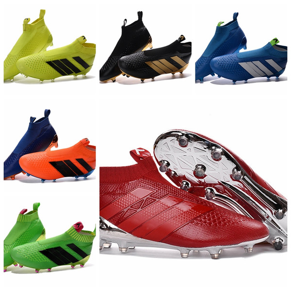 2016 Soccer Shoes New ACE 16+ PureControl Primeknit FG Soccer Cleats High Top For Men Laceless Mens Soccer Boots Ankle Boots Cheap