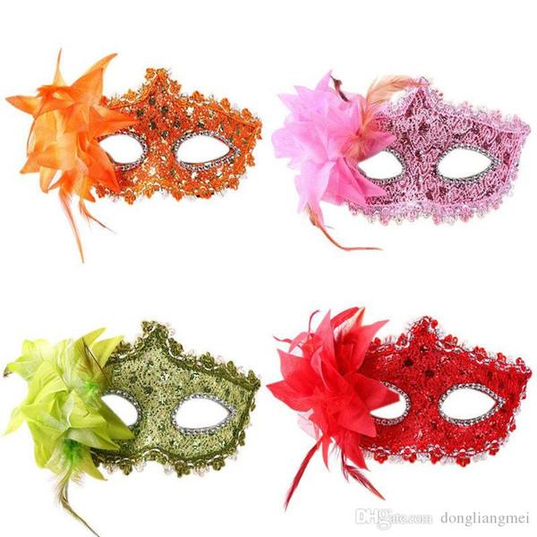 Женщины Венецианская кожаная маска горный хрусталь сторона цветок Маскарад Маскарад Маска Сексуальная Принцесса танец Свадьба День Рождения карнавал h44