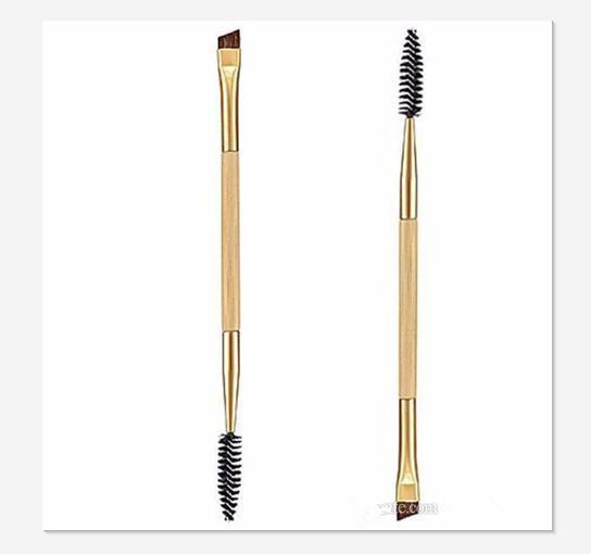 Beauty Girl 1PCS Makeup Bamboo Handle Double Eyebrow Brush + Eyebrow Comb Eye Definer Brush Professional Small Angle Brush
