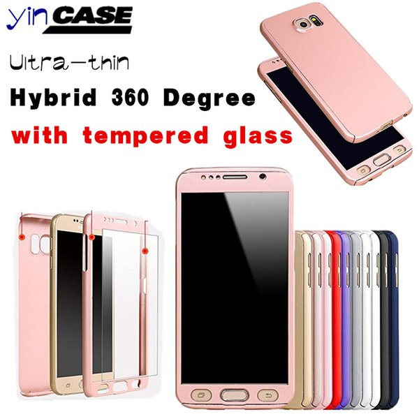 Ultra-thin Hybrid 360 Degree Full Body Protective Case Cover with Tempered Glass Screen Protector For samsung galaxy s7 s7edge s6 s6 edge H