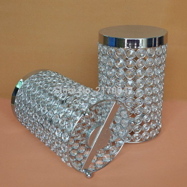 Crystal Candle Holder Silver Cylinder Table Candle Holders For Wedding Centerpieces Decoration Candle Stand H/23