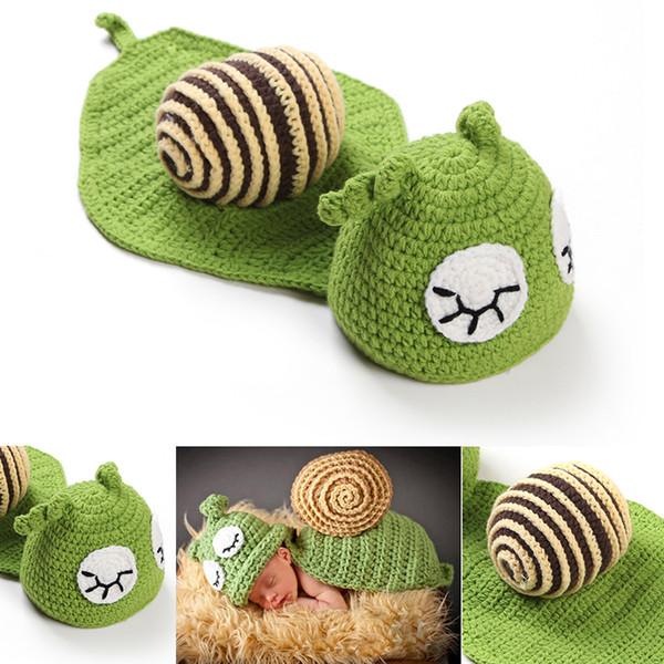 Bébé Photographie Props Cute Snail Set Nouveau-Né Garçon et Fille Crochet Outfit Infant Coming Home Photo Props enfants vêtements Accessoires
