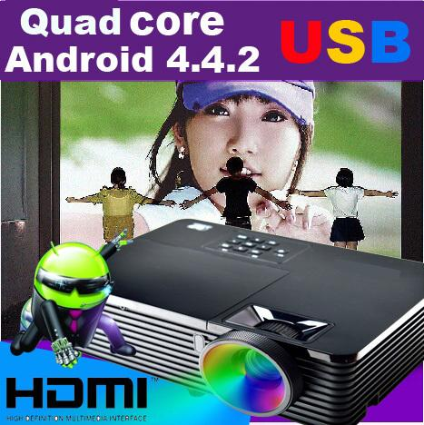 Wholesale-ATCO Best 6000ANSI Lm HDMI USB Quad core Android 4.4 WiFi Smart Church Data Show 1080P 3D projector daylight hd beamer proyector