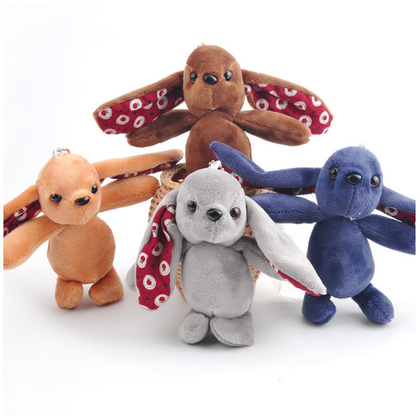 The rabbit wool cloth with soft nap long ear widgets that 4 color cute plush toy rabbit small catch machine doll is hanged adorn action figu