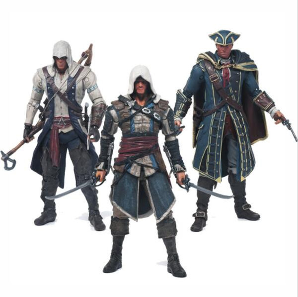 Assassins Creed 4 Black Flag Connor Haytham Kenway Edward Kenway PVC Action Figure Toys hidden blade Free Shipping