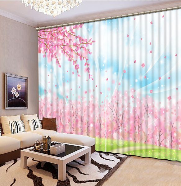 2018 Curtains For Living Room Pink Flower Forest Custom Curtain ...