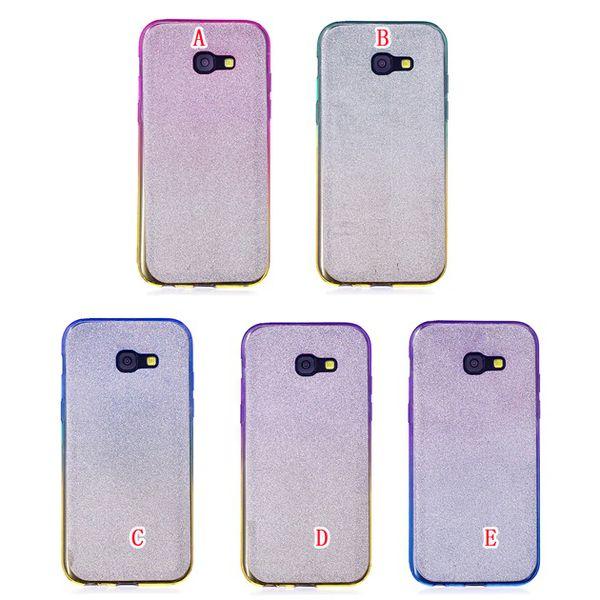 Bling Glitter Sparkle Custodia in TPU per Samsung Galaxy S5 S6 S7 Bordo S8 Plus A3 A5 A7 2017 A310 A510 Copertura in pelle di silicone lucido 100 pz