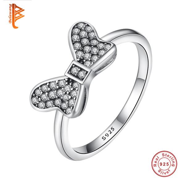 BELAWANG Muti-Size Venta al por mayor 925 Sterling Silver Delicate Sentiments Anillos de lazo con Clear CZ para mujeres Original Fine Jewelry