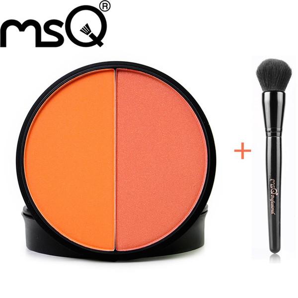 Wholesale- MSQ Makeup Doppel Farben in einem Rouge-Palette und Schwarz Blush Brush Cosmetic Sets Set