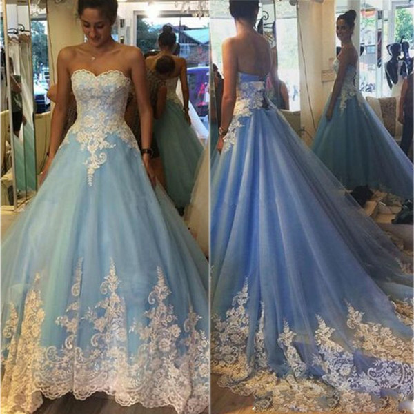 New Arrival Ball Gown White Lace Sequined Bridal Gown Light Sky Blue Wedding Dresses Two Colors Vestidos de Novias 2019 Bride Dresses