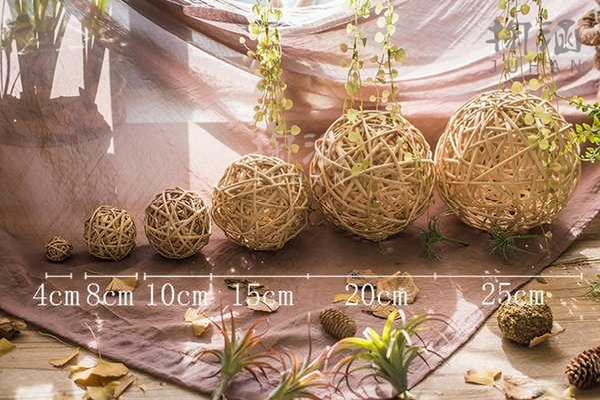 6pcs Handmade Wicker Rattan Balls, Garden, Wedding, Party Decorative Crafts, Vase Fillers, Rabbits, Parrot, Bird Toys