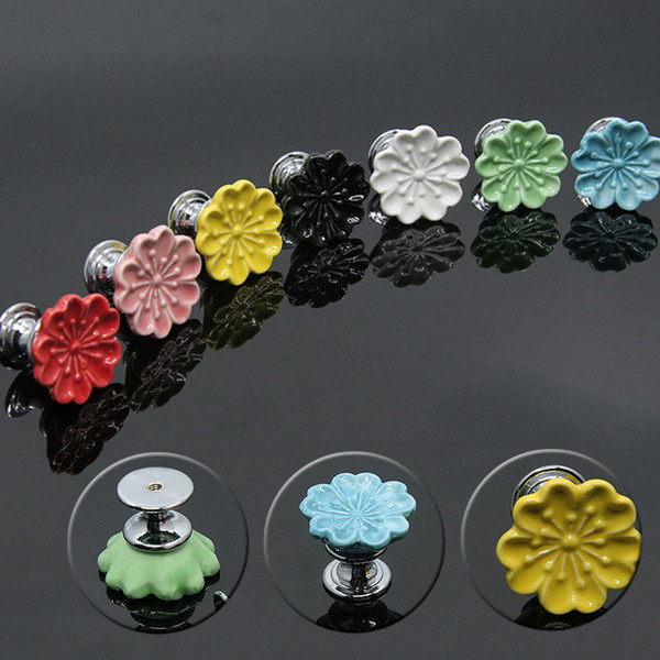Ceramic Colorful Flower Cabinet Pulls Unique Kitchen Door Handle Knob Drawer Dresser Handle Pulls 7 Colors