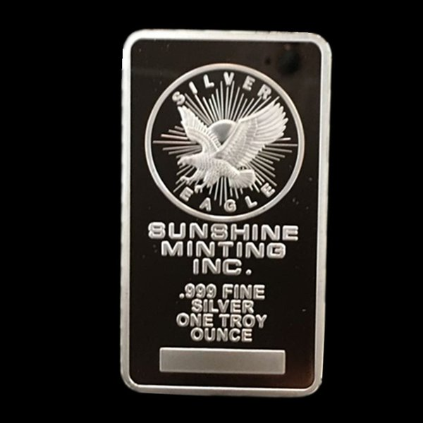 best selling 10 pcs brand new The sunshine minting silver plated 1 OZ 50 x 28 mm souvenir bullion bar badge free shipping