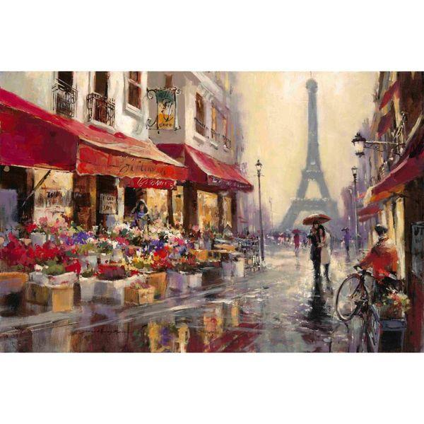 Art contemporain Peinture à l'huile Avril à Paris Brent Heighton, reproduction de toile sur les paysages de rue français, décor mural peint à la main