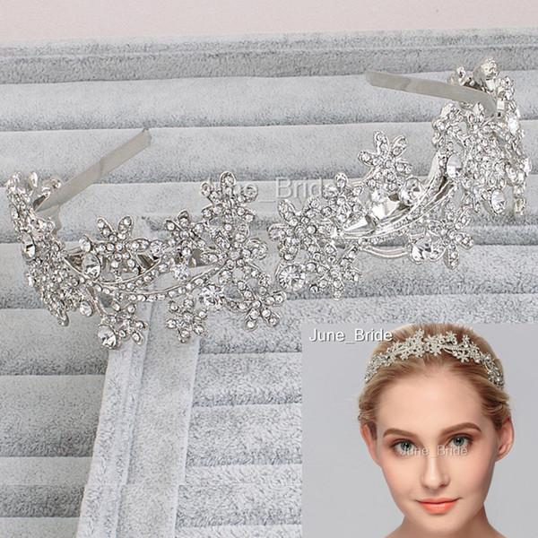 Luxury Crystal Rhinestone Hairband Handmade Bridal Headbands Wedding Party Hair Accessories Headpiece Headpieces Free Shipping Silver Color