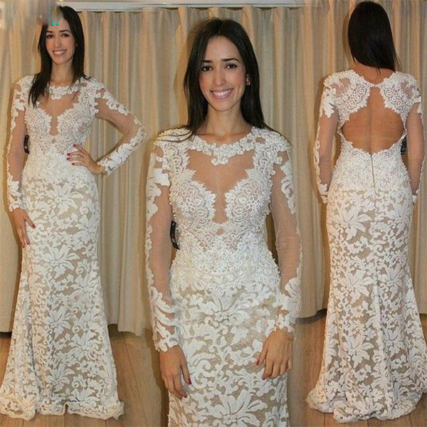 Robe De Soiree 2017 Sexy See Through Lace Evening Dress Long Sleeve Backless Mermaid Robe De Soiree Women Cheap prom Gown