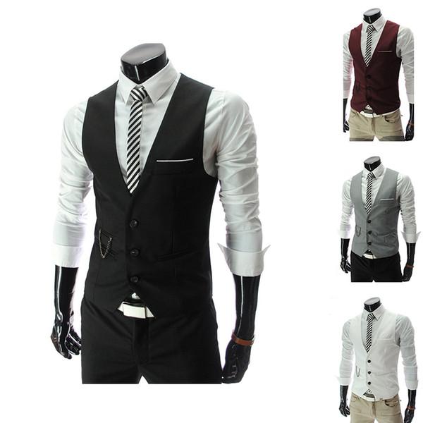 2018 Unique Brand Vest Groom Vests British Style Mens Suit Vests Wedding Waistcoat Mens Dress Vests Slim Fit