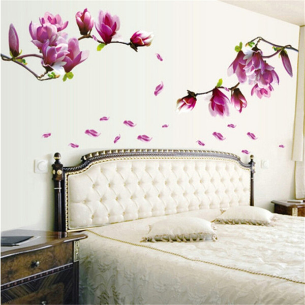 Großhandels-70 * 50cm Magnolienblume blüht Aufkleberwand Papier kreatives Art und Weise Hallentapete Blumen DIY Paste Hauptschlafzimmer DE839