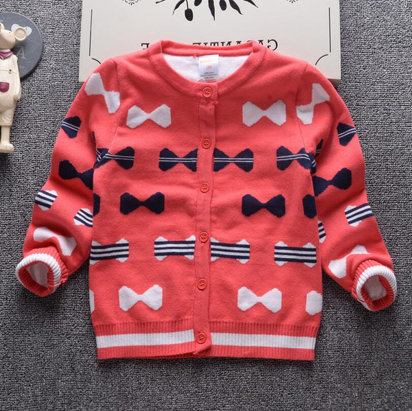 2017 Autumn Winter New Girls Double thick Sweaters Kid warm Cotton Coat Children Clothing Baby Knitted cardigan Bow cute Sweater