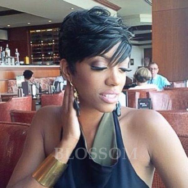 130% Densidad Recta Glueless Llena del cordón Bob Pelucas Pelo peruano Corto Llena del cordón Pelucas humanas Con la explosión del pelo Rihanna pelucas del pelo