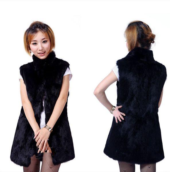 New Natural Rabbit fur vest Women full pelt Rabbit Fur vest coat winter fur jacket with collar custom big size F776
