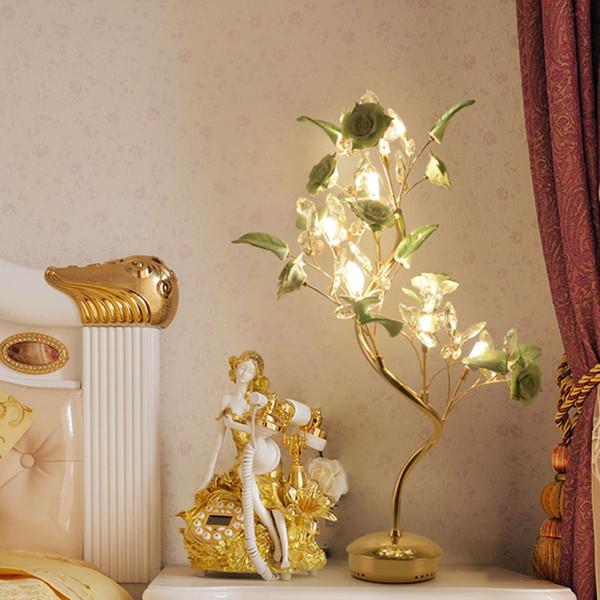 European luxury modern minimalist living crystal lamp bedroom bedside table lamp decoration creative ceramic flower crystal Hotel table lamp