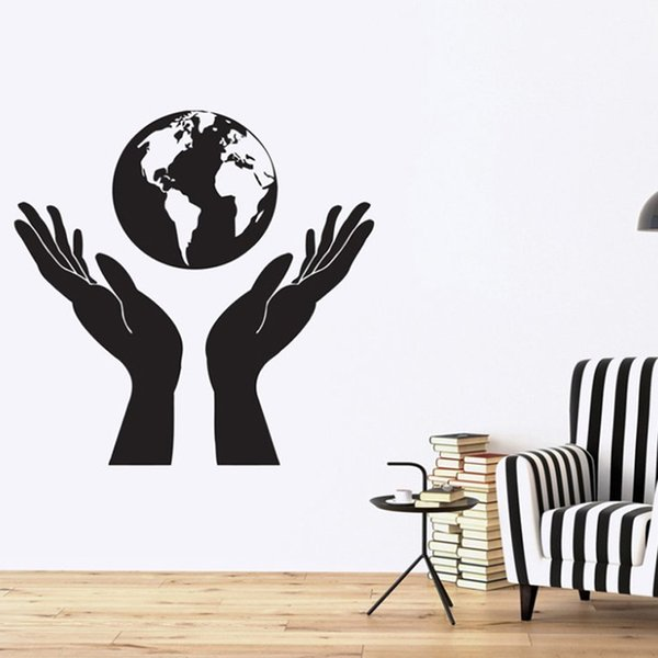 Design Nature Vinyl Wall Stickers Hands Holding a Globe People Protect Earth Wall Sticker Decor Kids Room Mural DIY