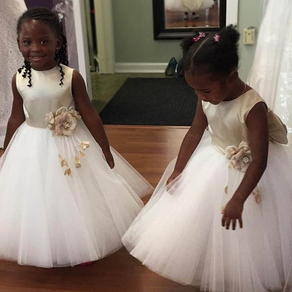 Lindo vestido de bola de las muchachas de las flores vestidos de marfil Champagne satinado Tulle piso de la longitud del niño vestidos de fiesta de la boda Junior dama de honor vestidos