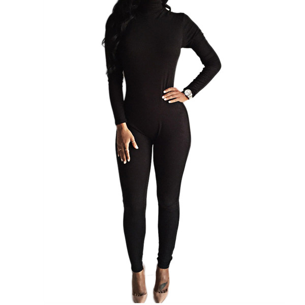 c71182792e6 Wholesale- 2016 New Arrival Sexy Black Bodysuit Bodycon Rompers Womens  Jumpsuit Slim Long Sleeve One Piece Playsuit Overalls Macacao
