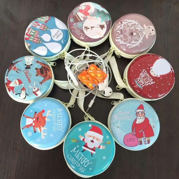 Natale Babbo Natale serie rotonda scatola di latta di ferro borsa mini portafoglio borsa portamonete moneta sacchetto di immagazzinaggio contenitore di caramella ZA3722