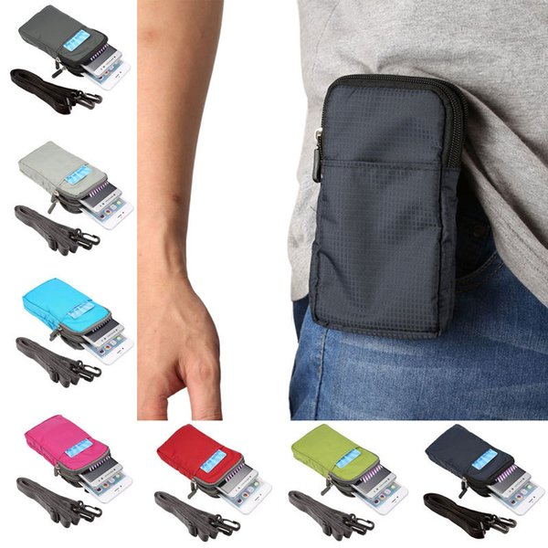 Outdoor Sport 3 Pockets 2 Zippers Universal Phone Pouch Wallet Belt Clip Bag for All Below 6.0 inch Smart Phones Nylon Mini Shoulder Bag