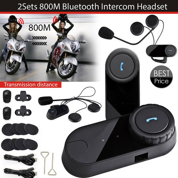 2 set / lote el más nuevo casco de Bluetooth Intercoms Radio FM casco de la motocicleta Bluetooth Intercom Auriculares Auriculares BT TOM-VB
