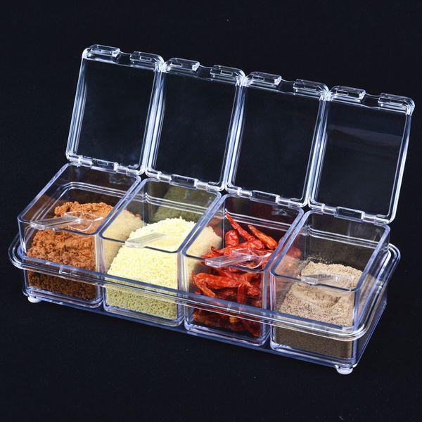 2016 New European Flavor Seasoning Jar Set Kitchen Condiment Box Scrylic Spices Storage Box Seasoning Boxes 4Piece/Set Hot Sale