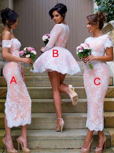 O-pescoço mangas curtas rosa e branco tornozelo comprimento vestidos de dama de honra do estilo ABC vestidos de festa feitos sob encomenda