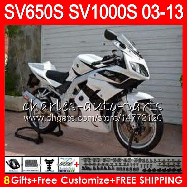 white black 8Gifts For SUZUKI SV1000S SV650S 03 09 10 11 12 13 23NO65 SV1000 S SV650 S SV 1000S 650S 2003 2009 2010 2011 2012 2013 Fairing