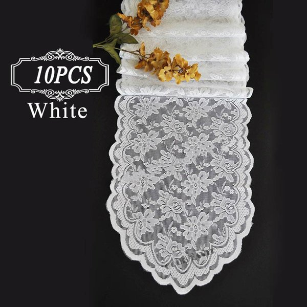 top popular 10 Lace Table Runner  Vantage Knit Tulle Hessian Lace Fabric Table Runner Flag of Weddings  Modern Silver Lace Table Runners for Event Party 2021