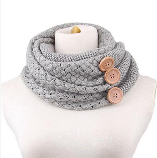 Feitong Fashion Winter Keep Warm Scarf Two Circle 3 Buttons Knitting Wool Collar Cowl Neck Ring Scarf Shawl For Women New HJIA1175