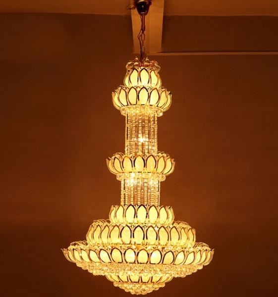 Free shipping penthouse floor chandelier chandelier, crystal lotus modern atmosphere lamp Temple Hotel Villa Project Chandelier LLFA